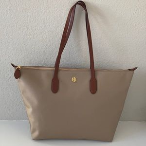 NWOT Ralph Lauren Top Zip Canvas Tote/Shoulder Bag